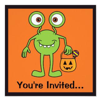 """Cute Green Monster Party Invitation 5.25"""" Square Invitation Card"""