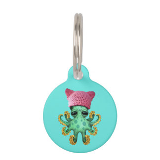 Cute Green Octopus Wearing Pussy Hat Pet Name Tag