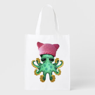 Cute Green Octopus Wearing Pussy Hat Reusable Grocery Bag