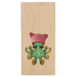 Cute Green Octopus Wearing Pussy Hat Wood USB Flash Drive