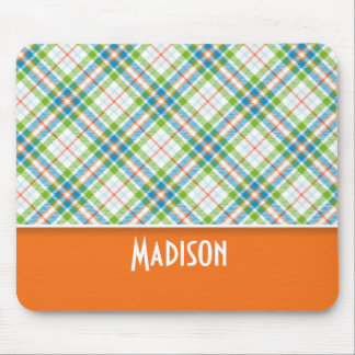 Cute Green, Orange Plaid Mouse Pad