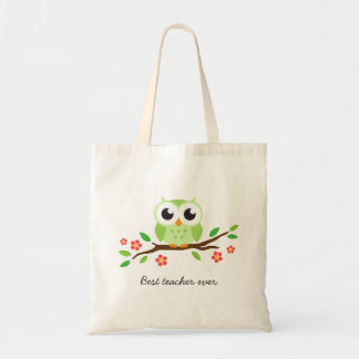 Cute green owl on floral branch best teacher ever budget tote bag