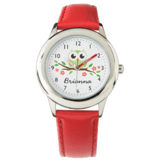 Cute green owl on floral branch wristwatches