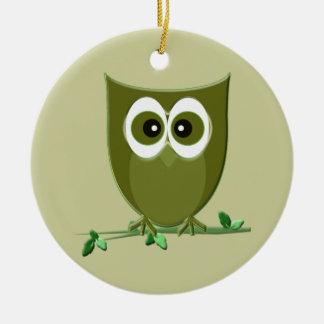 Cute Green Owl Ornament