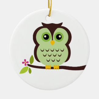 Cute Green Owl Round Ceramic Decoration