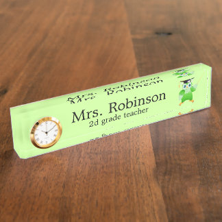 Cute Green Owl Teacher customizable Nameplate