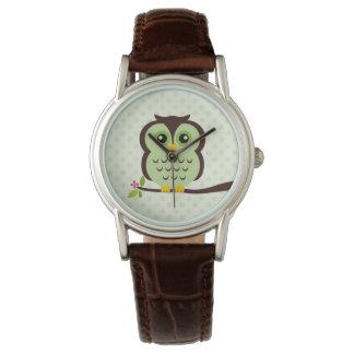 Cute Green Owl Wrist Watch