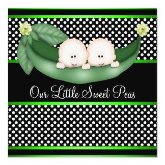 Cute Green Peas In A Pod Twin Boy Baby Shower 13 Cm X 13 Cm Square Invitation Card