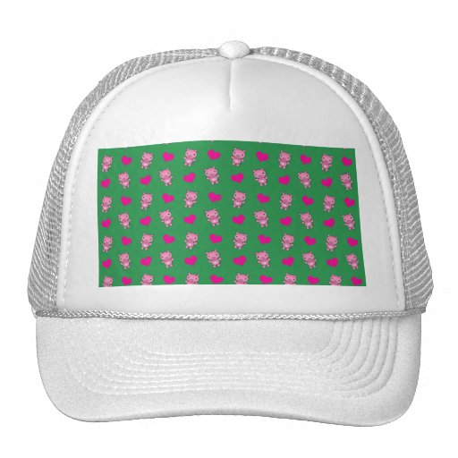 Cute green pig hearts pattern hat