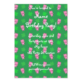 Cute green pig shamrocks pattern 13 cm x 18 cm invitation card