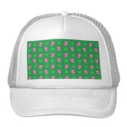 Cute green pig shamrocks pattern mesh hat