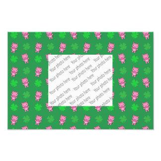 Cute green pig shamrocks pattern photo print