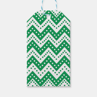 Cute Green Polkadot Zigzags Gift Tags