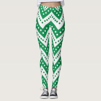 Cute green Polkadot Zigzags Leggings