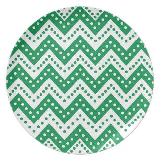 Cute Green Polkadot Zigzags Plate