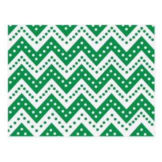Cute Green Polkadot Zigzags Postcard
