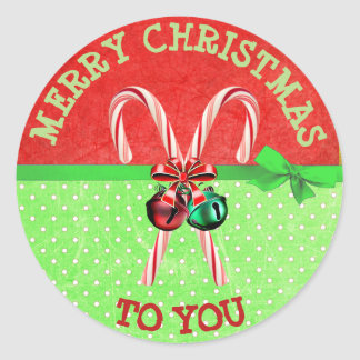 Cute Green Red Candy Cane Bow Christmas Sticker