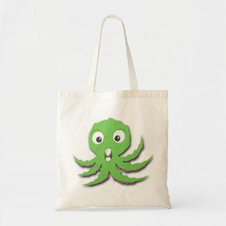 Cute Green Sea Monster Canvas Bags