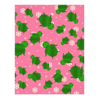 Cute green sea turtle christmas pink snowflakes 21.5 cm x 28 cm flyer