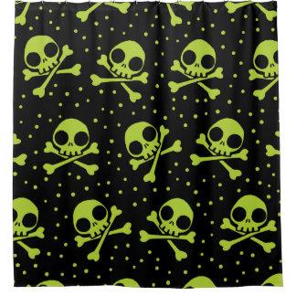Cute Green Skulls Pattern Shower Curtain