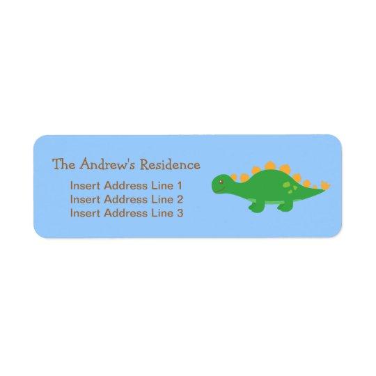 Cute Green Stegosaurus Dinosaur, For kids Return Address Label