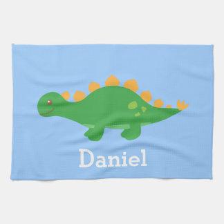 Cute Green Stegosaurus Dinosaur for Kids Tea Towel