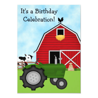 Cute Green Tractor and Red Barn Boys Birthday Card