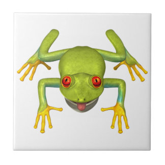Cute Green Tree Frog Small Square Tile