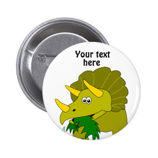 Cute Green Triceratops Cartoon Dinosaur 6 Cm Round Badge