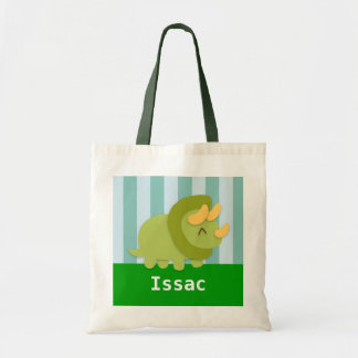 Cute Green Triceratops Dinosaur Kids Tote Bag