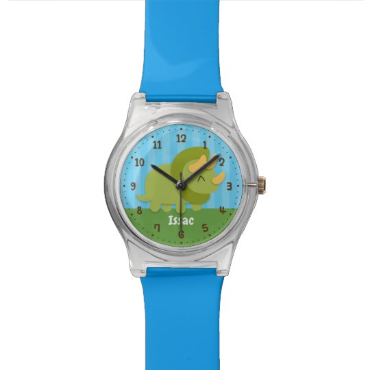Cute Green Triceratops Kids Personalised Watch