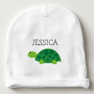 Cute green turtle baby beanie hat with custom name