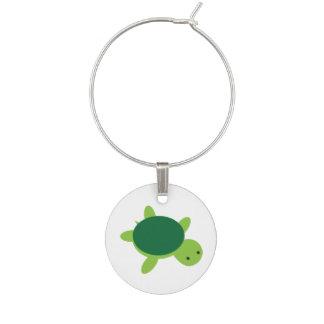 Cute Green Turtle Wine Charm