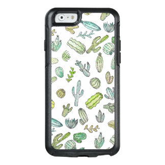 Cute Green Watercolor Paint Summer Cactus Pattern OtterBox iPhone 6/6s Case