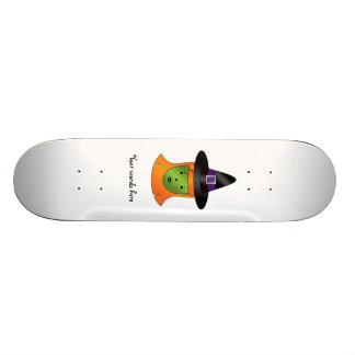 Cute green witch skate deck