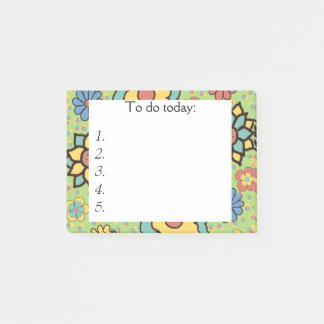 Cute Green, Yellow, Blue Floral Post it Notes