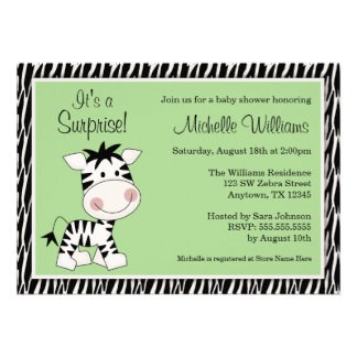Cute Green Zebra Gender Neutral Baby Shower Personalized Announcement