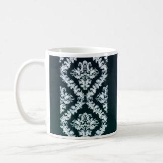 Cute Greenish heart and pure white damask Basic White Mug