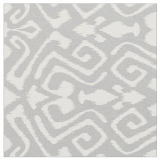 Cute grey and white ikat tribal patterns fabric