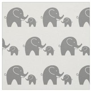 Cute grey baby elephant pattern fabric DIY textile