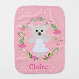 Cute Grey Baby Koala Bear for newborn baby Girl Burp Cloth