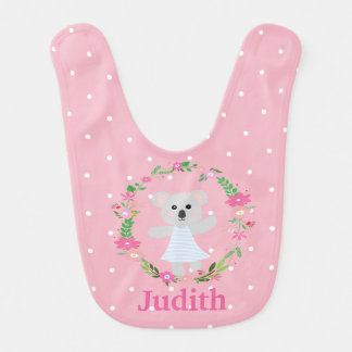Cute Grey Baby Koala Bear Pink White Polkadots Bib