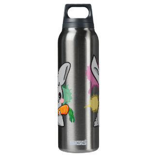 cute grey bunny with carrot 16 oz insulated SIGG thermos water bottle