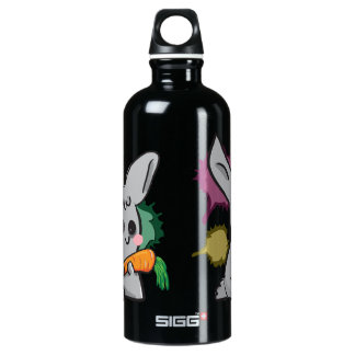 cute grey bunny with carrot water bottle