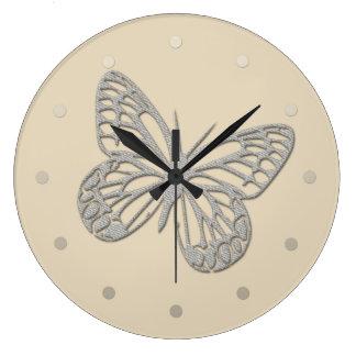 Cute Grey Butterfly Cream Beige Wall  Clock