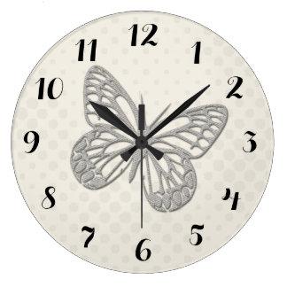 Cute Grey Butterfly Cream Dots Wall  Clock