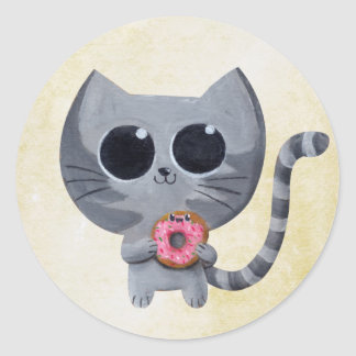 Cute Grey Cat and Donut Round Sticker