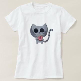 Cute Grey Cat and Donut T-Shirt