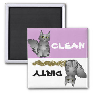 Cute Grey Cat Clean Dirty Dishwasher Magnet