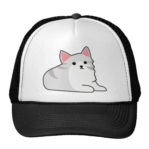 Cute Grey Cat Illustration, Feline Drawing Mesh Hats